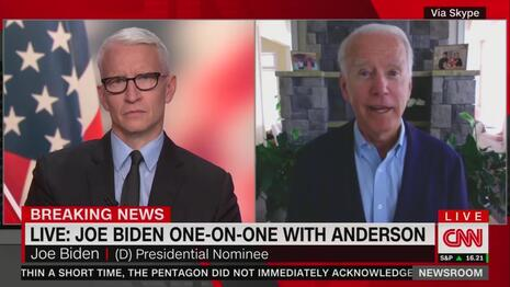 No Fact-Check? CNN's Cooper Invites Biden to Lie About Trump 'Rooting' for Riots, White Supremacists
