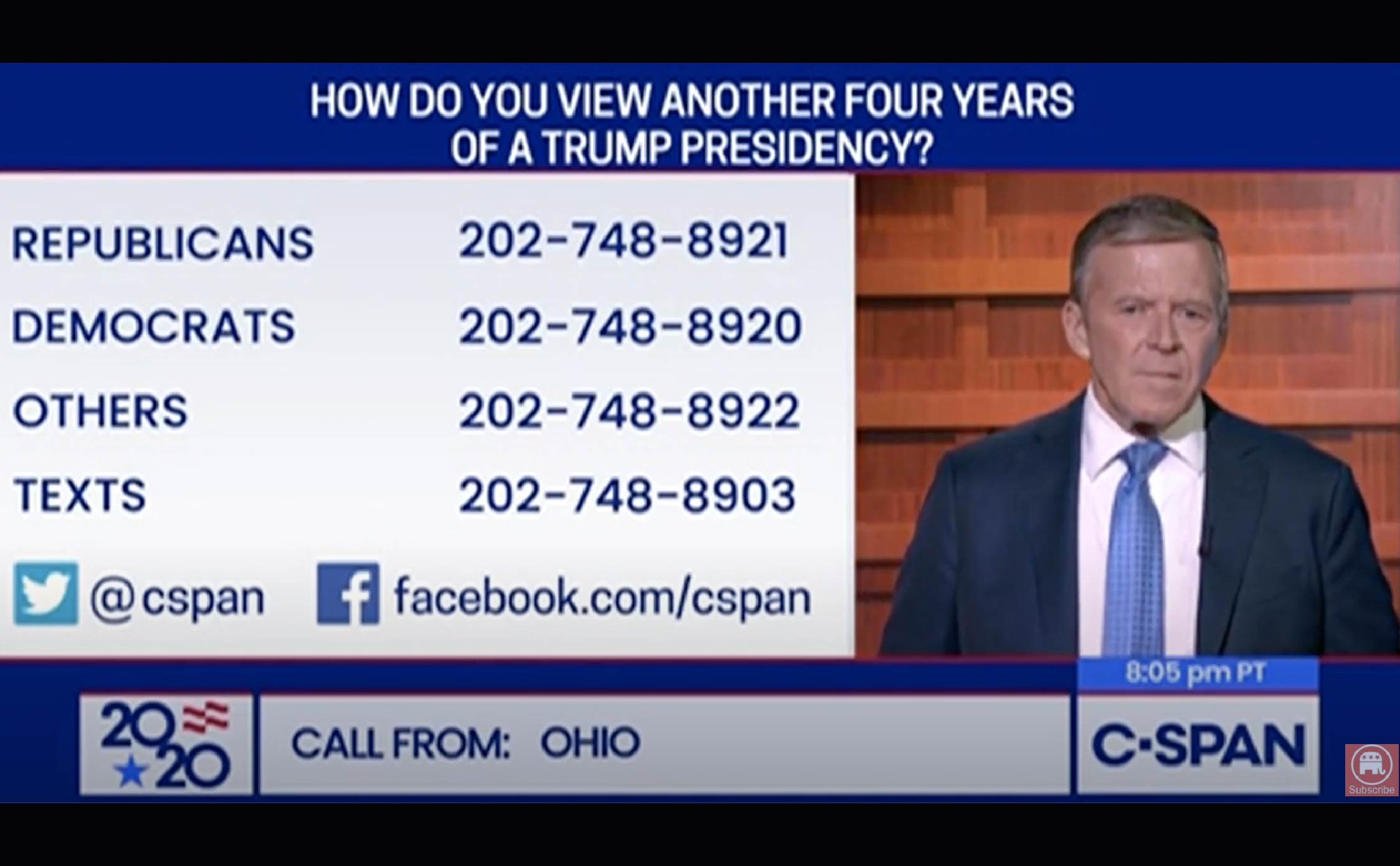 [VIDEO] Lifelong Dem Calls CSPAN After Watching RNC Convention, Says He's Now Voting Straight Republican Ticket in 2020