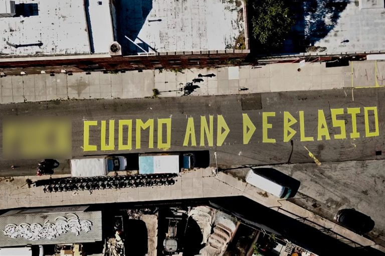 'F*ck Cuomo And De Blasio' Street Mural Painted In New York City