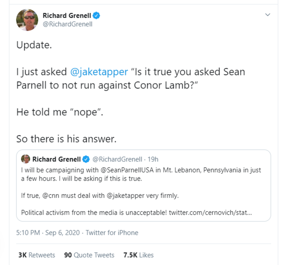 CAUGHT: Jake Tapper LIED About Urging GOP Pal Sean Parnell to Run in 'Safer R District'