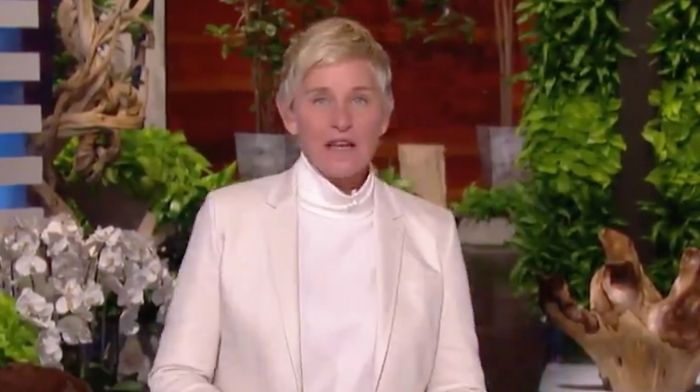 """[VIDEO] Ellen DeGeneres Addresses """"Toxic Workplace"""" on Show's Season Opener, Throws Production Team Under the Bus"""