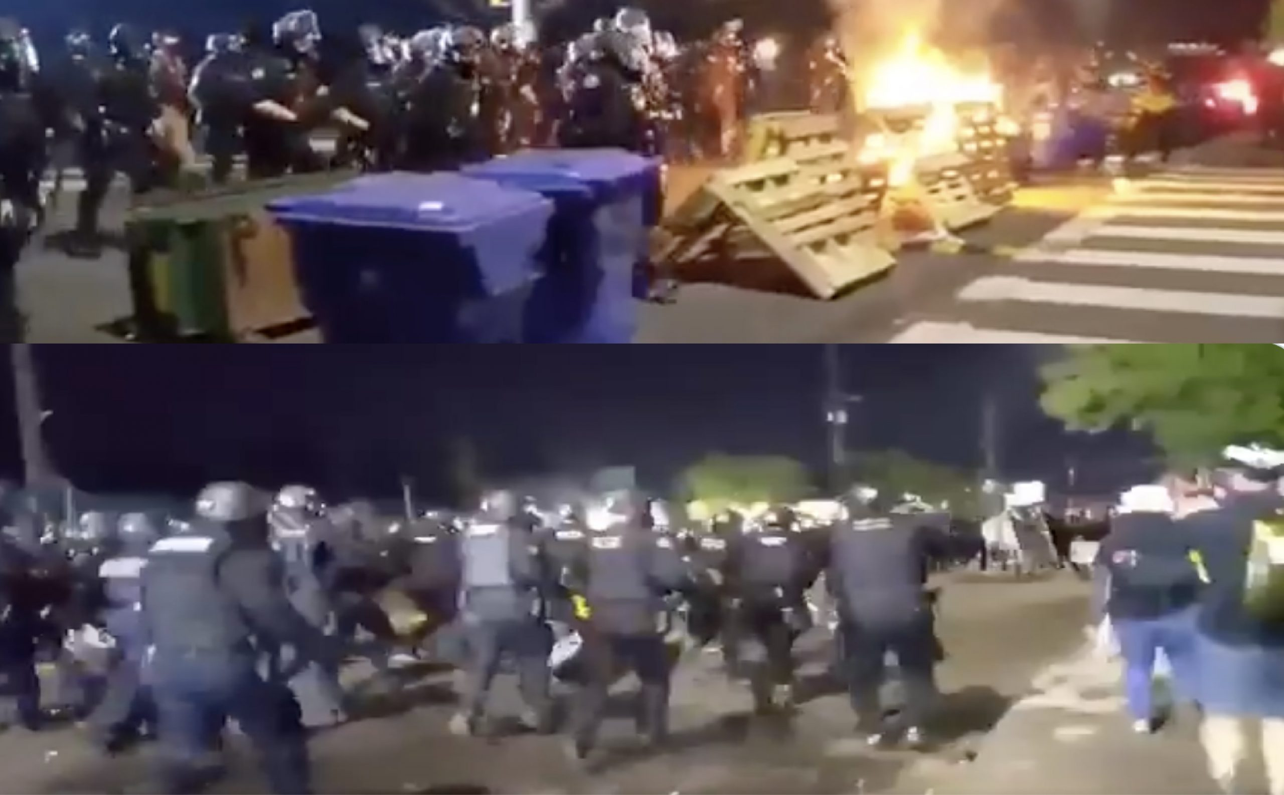 """[VIDEO] Portland Police Form a """"Line"""" And Physically Run Full-Force Into Rioters, Knocking them Down and Arresting Them"""