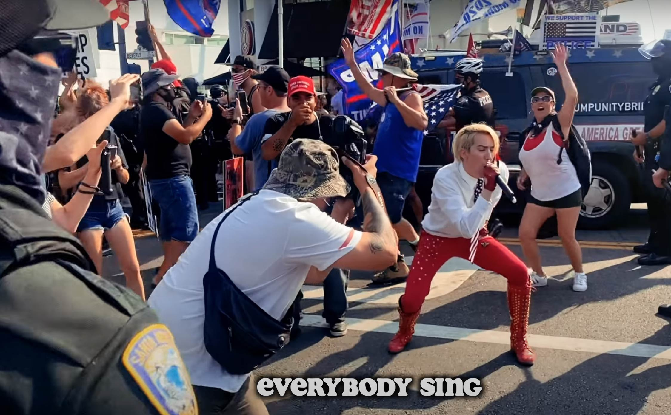 [WATCH] Pro-Trump Singer Turns an Angry Beverly Hills BLM Protest Into a Huge MAGA Dance Party