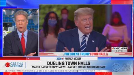 Arrogant CBS: 'Desperate' Trump Goes 'on Bended Knee' to NBC Town Hall