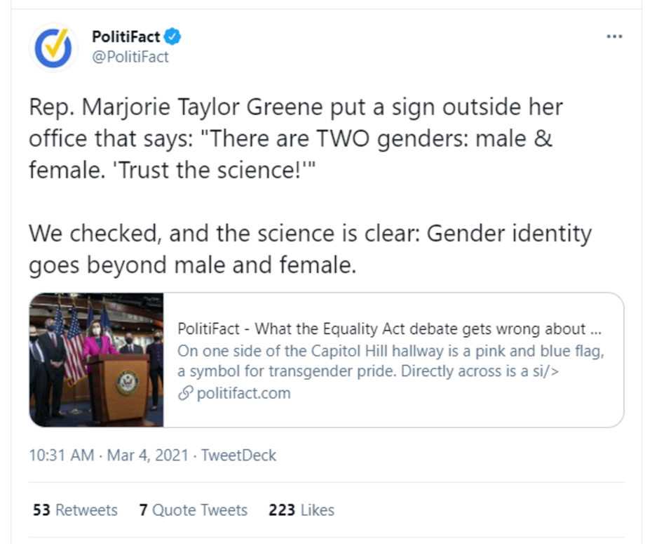 'Science'? PolitiFact Denies the FACT That We're Born Boys or Girls
