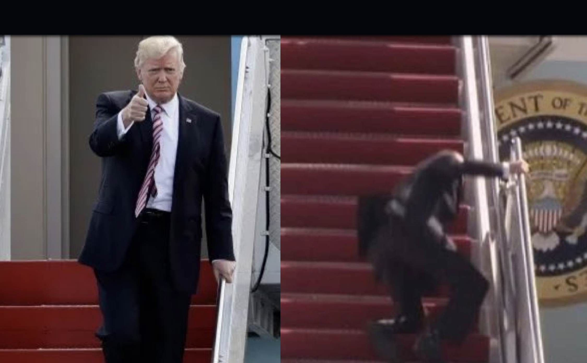 """Watch: Video of Biden Mocking How President Trump """"Stumbles On Stairs"""" Comes Back to Haunt Him"""