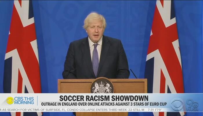 Corrupt CBS Pins Racist Soccer Hate in England on Conservative PM Boris Johnson