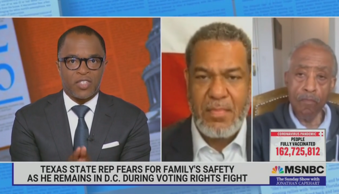MSNBC Allows TX Dem to Float Unhinged Conspiracy Theory: 'Rural Cops' Are After Us!