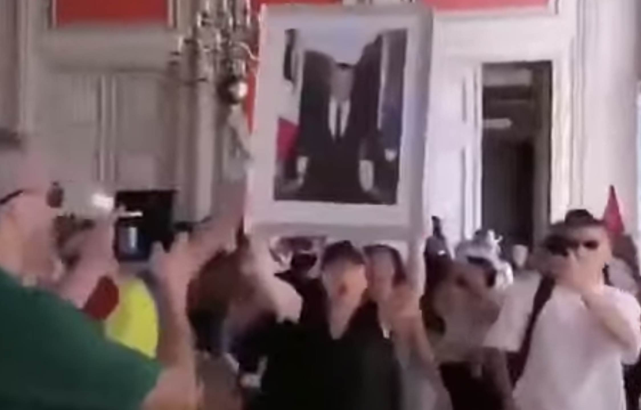 [VIDEO] French Citizens Storm The Town Hall, Rip Down Macron's Photo and Publically Destroy It