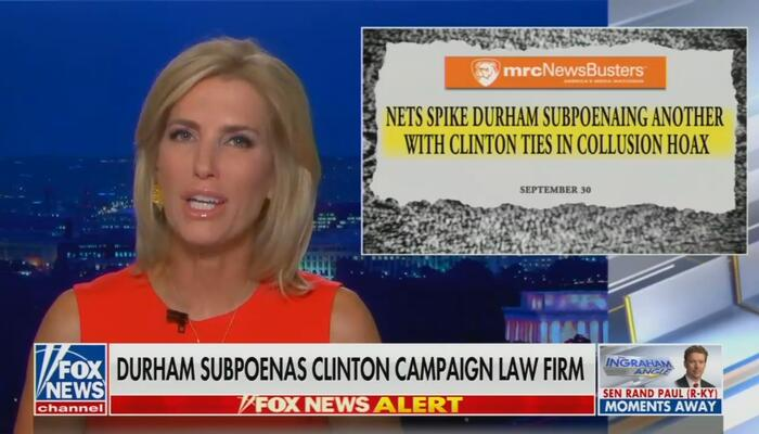 Laura Ingraham Slams Networks for Spiking Latest on Durham's Russiagate Probe